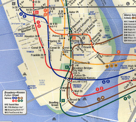 Lower Manhattan Subway Map